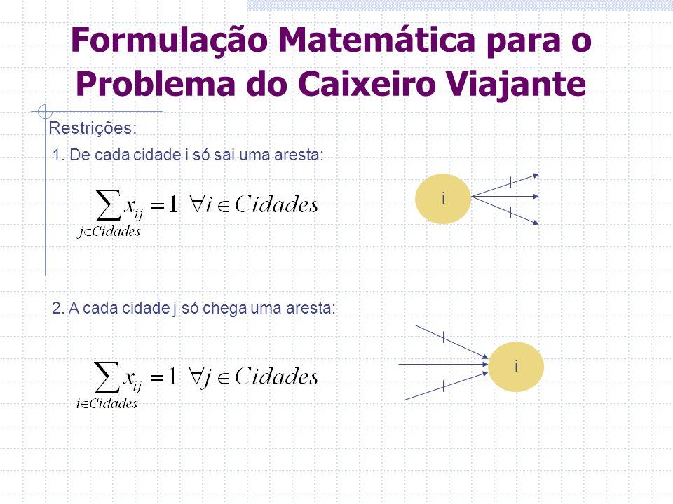 Formulação Matemática para o Problema do Caixeiro Viajante 3.