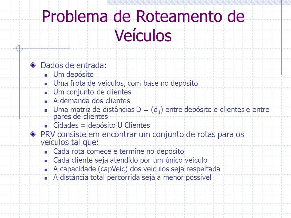 Problema de Roteamento de Veículos dep A B C D E (18) [3] [9] [7] [5] [6] Demanda capacidade dos veículos