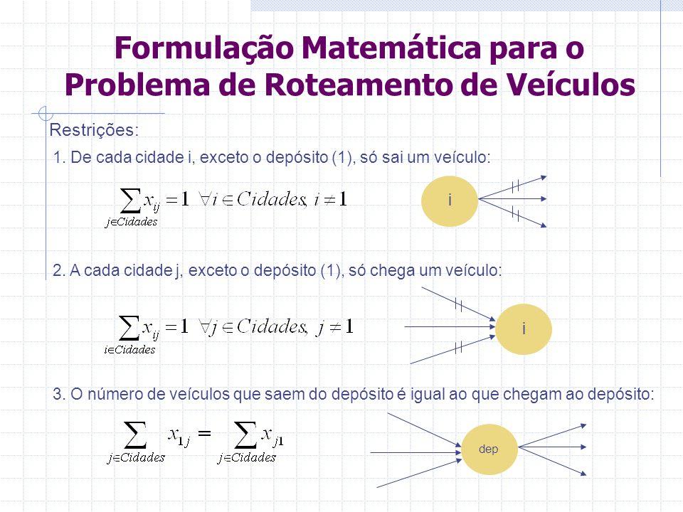 Formulação Matemática para o Problema de Roteamento de Veículos 4.