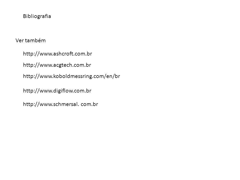 Bibliografia http://www.ashcroft.com.br Ver também http://www.acgtech.com.br http://www.koboldmessring.com/en/br http://www.digiflow.com.br http://www.schmersal.