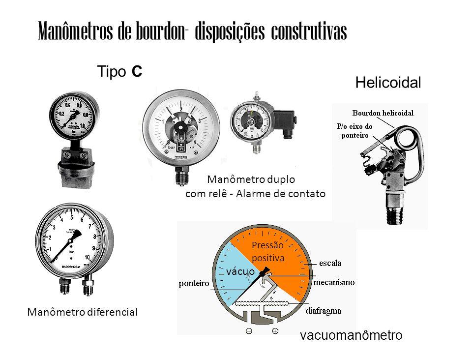 Tipo C Helicoidal Manômetros de bourdon- disposições construtivas Manômetro diferencial Manômetro duplo com relê - Alarme de contato vácuo Pressão positiva vacuomanômetro