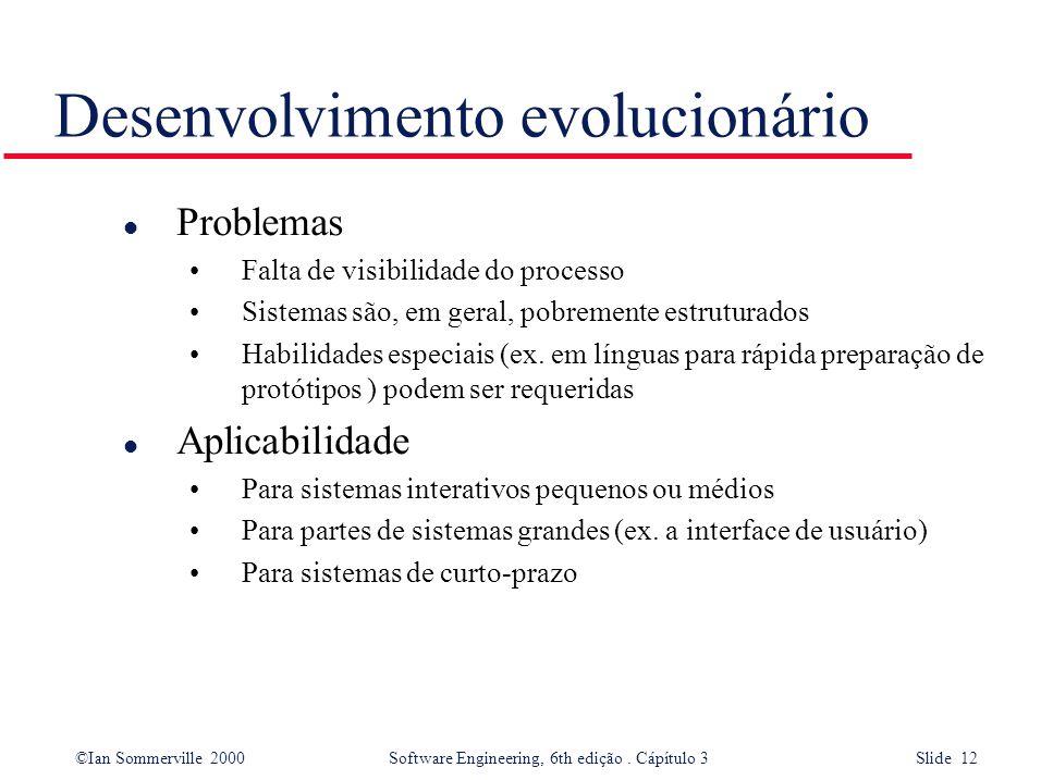 ©Ian Sommerville 2000 Software Engineering, 6th edição. Cápítulo 3 Slide 12 Desenvolvimento evolucionário l Problemas Falta de visibilidade do process