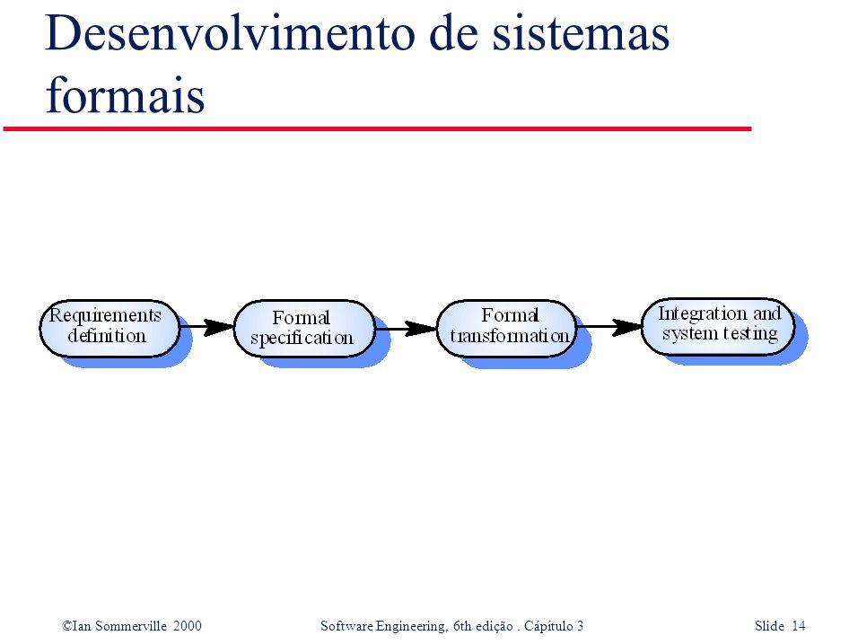 ©Ian Sommerville 2000 Software Engineering, 6th edição. Cápítulo 3 Slide 14 Desenvolvimento de sistemas formais