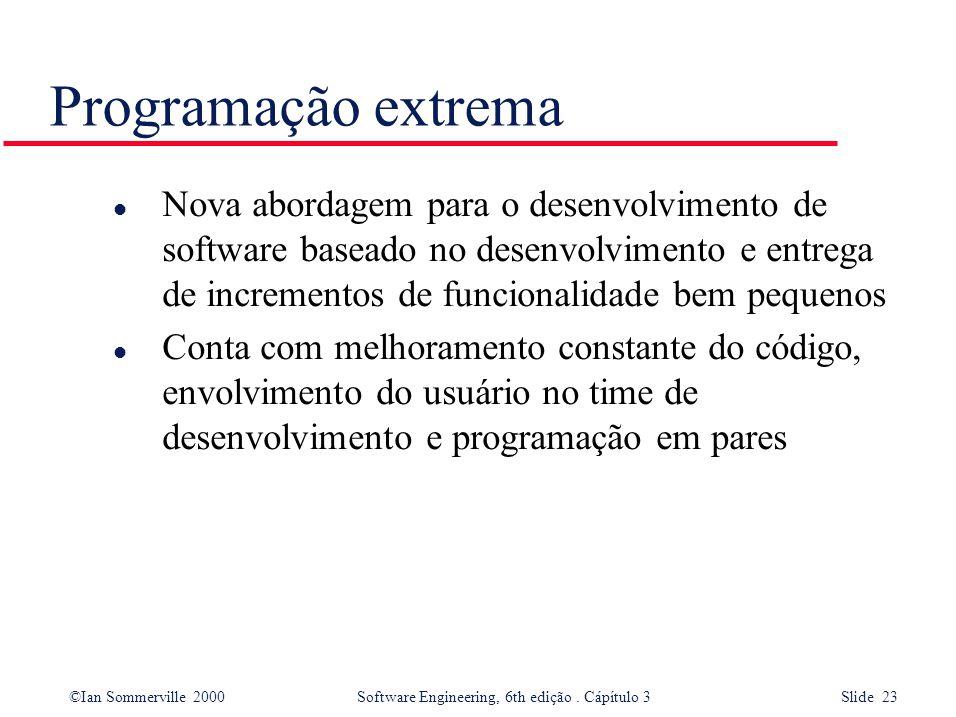 ©Ian Sommerville 2000 Software Engineering, 6th edição. Cápítulo 3 Slide 23 Programação extrema l Nova abordagem para o desenvolvimento de software ba