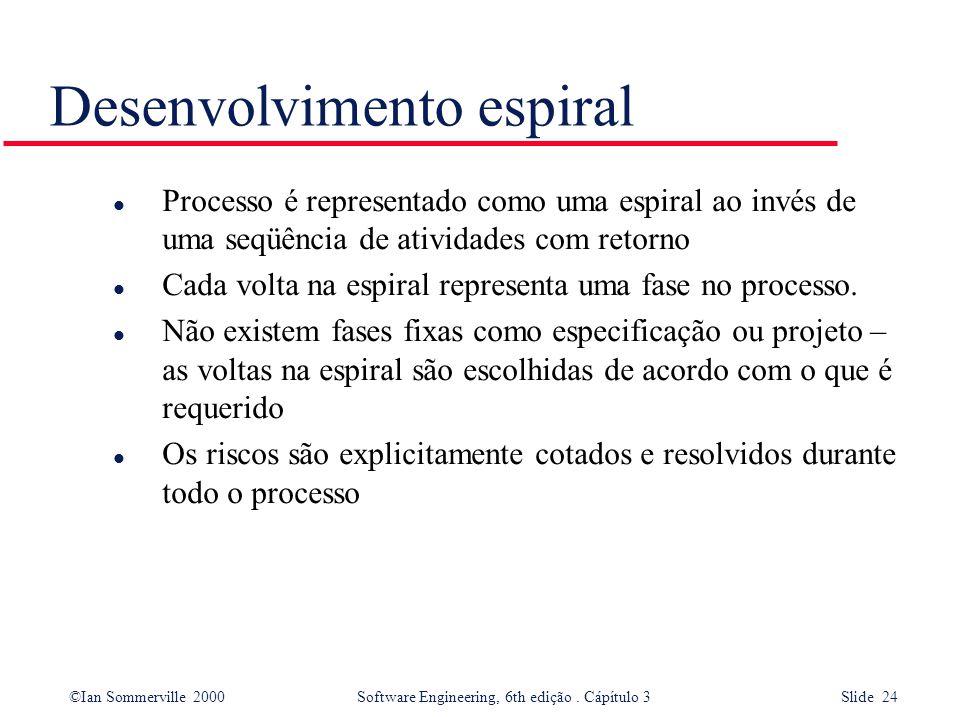 ©Ian Sommerville 2000 Software Engineering, 6th edição. Cápítulo 3 Slide 24 Desenvolvimento espiral l Processo é representado como uma espiral ao invé