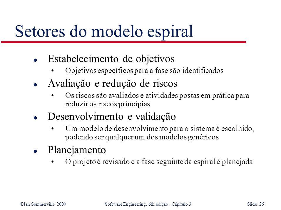 ©Ian Sommerville 2000 Software Engineering, 6th edição. Cápítulo 3 Slide 26 Setores do modelo espiral l Estabelecimento de objetivos Objetivos específ
