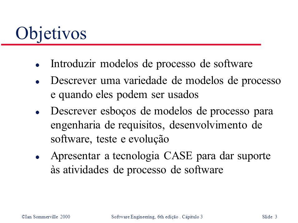 ©Ian Sommerville 2000 Software Engineering, 6th edição. Cápítulo 3 Slide 3 Objetivos l Introduzir modelos de processo de software l Descrever uma vari