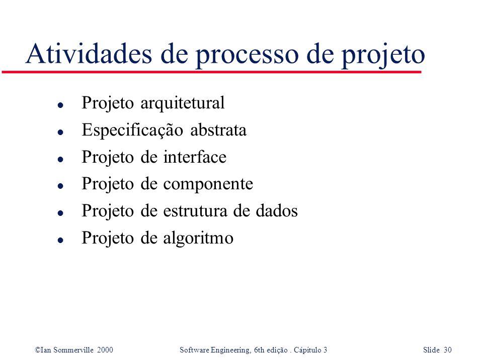 ©Ian Sommerville 2000 Software Engineering, 6th edição. Cápítulo 3 Slide 30 Atividades de processo de projeto l Projeto arquitetural l Especificação a
