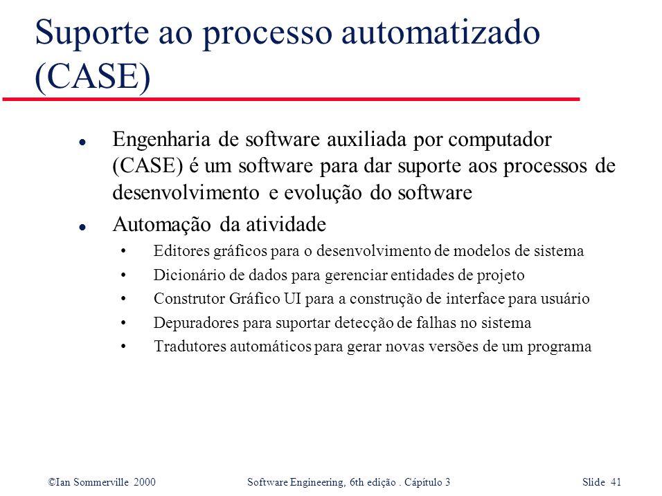 ©Ian Sommerville 2000 Software Engineering, 6th edição. Cápítulo 3 Slide 41 Suporte ao processo automatizado (CASE) l Engenharia de software auxiliada