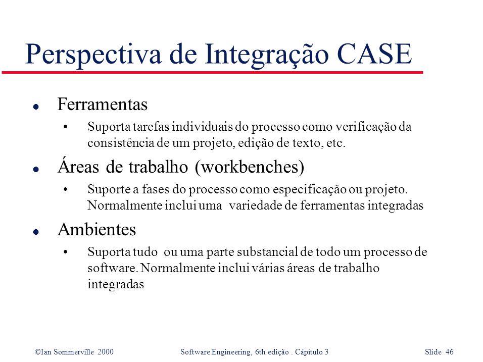 ©Ian Sommerville 2000 Software Engineering, 6th edição. Cápítulo 3 Slide 46 Perspectiva de Integração CASE l Ferramentas Suporta tarefas individuais d