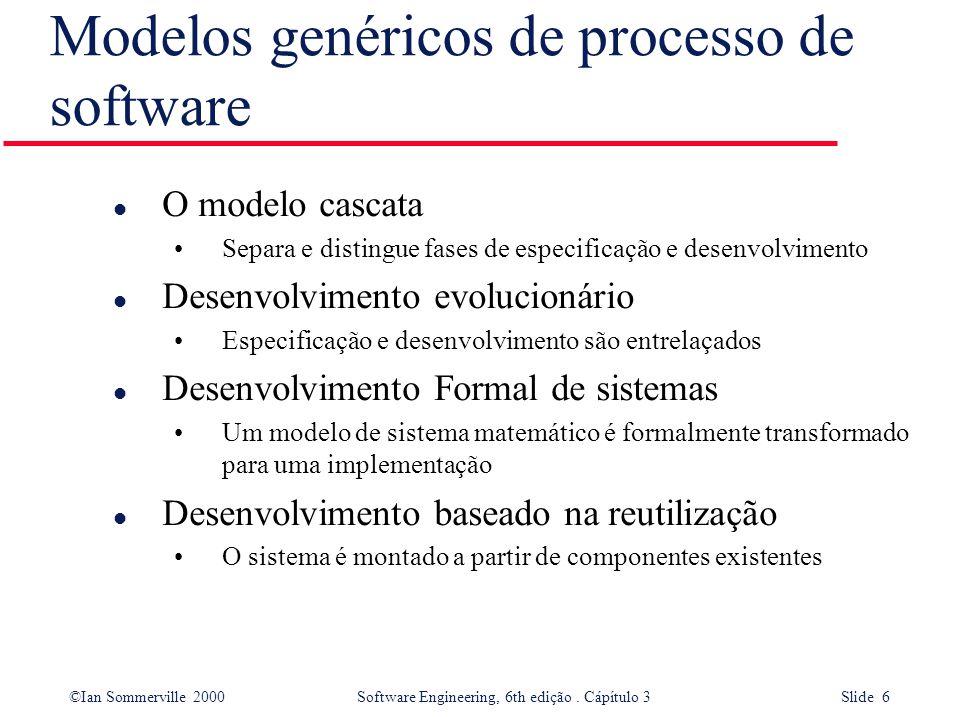 ©Ian Sommerville 2000 Software Engineering, 6th edição. Cápítulo 3 Slide 6 Modelos genéricos de processo de software l O modelo cascata Separa e disti