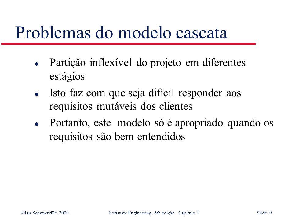 ©Ian Sommerville 2000 Software Engineering, 6th edição. Cápítulo 3 Slide 9 Problemas do modelo cascata l Partição inflexível do projeto em diferentes