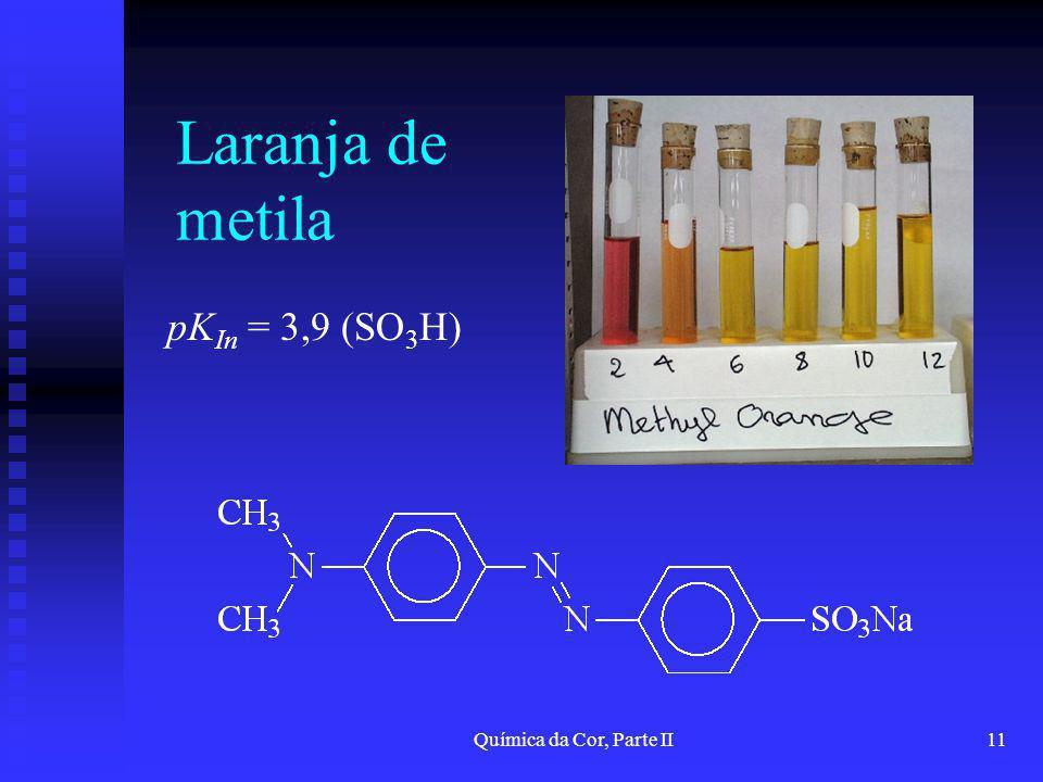 Química da Cor, Parte II11 Laranja de metila pK In = 3,9 (SO 3 H)