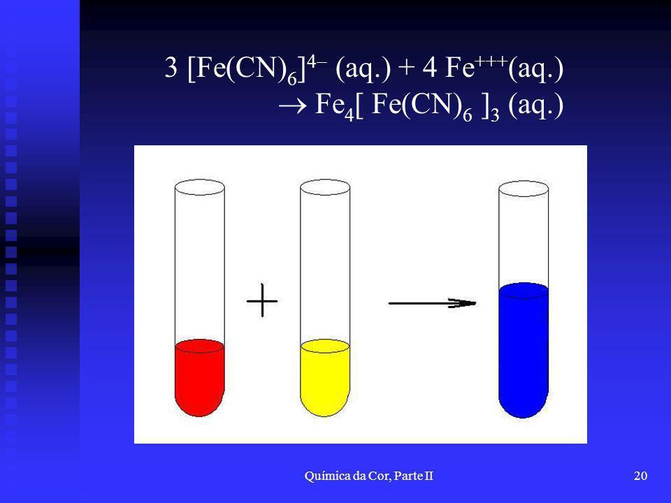 Química da Cor, Parte II20 3 [Fe(CN) 6 ] 4 (aq.) + 4 Fe +++ (aq.) Fe 4 [ Fe(CN) 6 ] 3 (aq.)