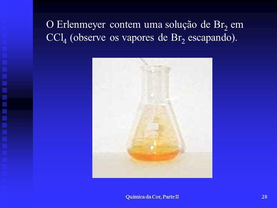 Química da Cor, Parte II28 O Erlenmeyer contem uma solução de Br 2 em CCl 4 (observe os vapores de Br 2 escapando).