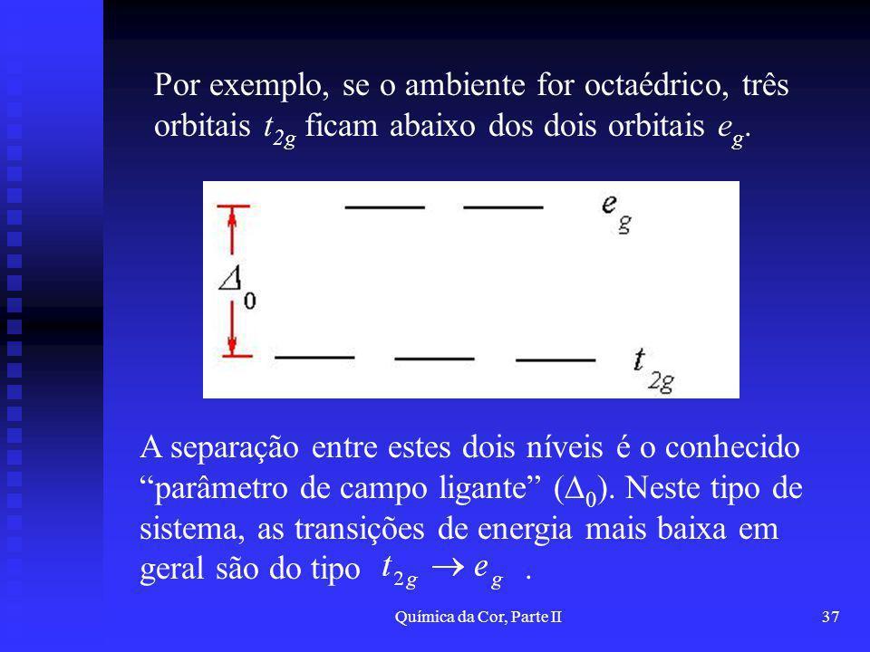 Química da Cor, Parte II37 Por exemplo, se o ambiente for octaédrico, três orbitais t 2g ficam abaixo dos dois orbitais e g. A separação entre estes d