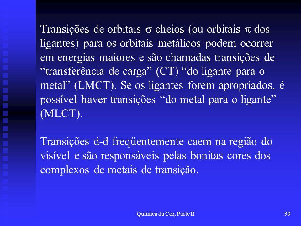 Química da Cor, Parte II39 Transições de orbitais cheios (ou orbitais dos ligantes) para os orbitais metálicos podem ocorrer em energias maiores e são