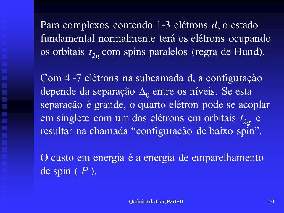 Química da Cor, Parte II40 Para complexos contendo 1-3 elétrons d, o estado fundamental normalmente terá os elétrons ocupando os orbitais t 2g com spi