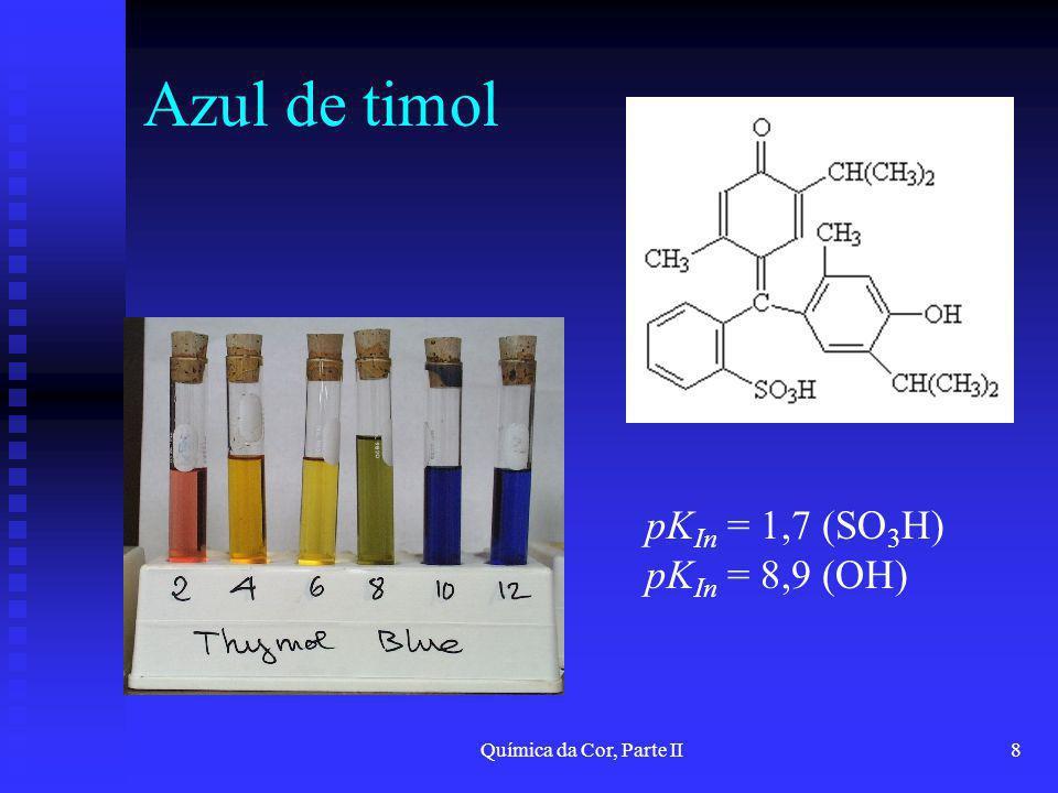 Química da Cor, Parte II8 Azul de timol pK In = 1,7 (SO 3 H) pK In = 8,9 (OH)