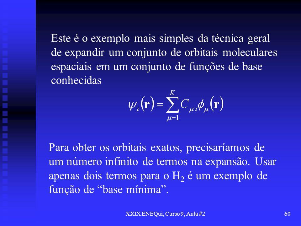 XXIX ENEQui, Curso 9, Aula #260 Este é o exemplo mais simples da técnica geral de expandir um conjunto de orbitais moleculares espaciais em um conjunt
