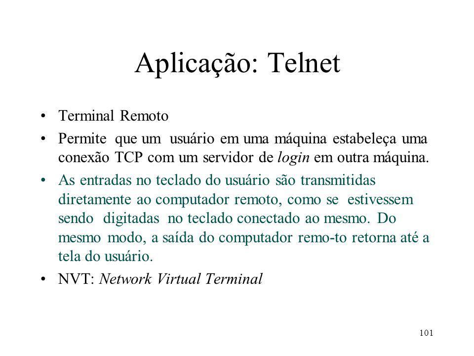 101 Aplicação: Telnet Terminal Remoto Permite que um usuário em uma máquina estabeleça uma conexão TCP com um servidor de login em outra máquina. As e