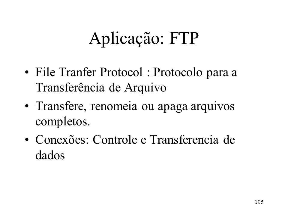 105 Aplicação: FTP File Tranfer Protocol : Protocolo para a Transferência de Arquivo Transfere, renomeia ou apaga arquivos completos. Conexões: Contro