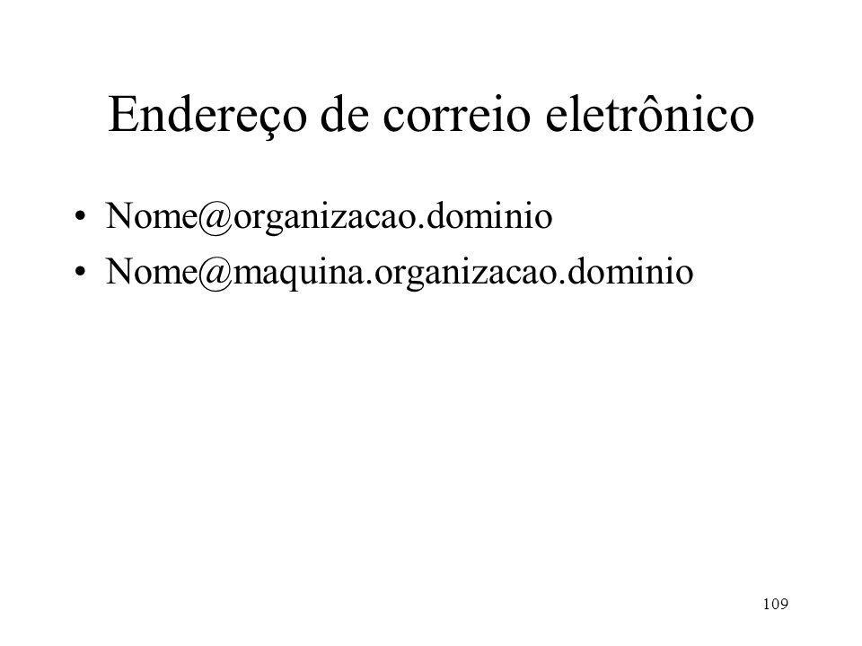109 Endereço de correio eletrônico Nome@organizacao.dominio Nome@maquina.organizacao.dominio