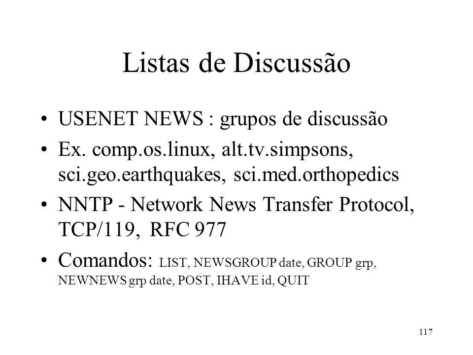 117 Listas de Discussão USENET NEWS : grupos de discussão Ex. comp.os.linux, alt.tv.simpsons, sci.geo.earthquakes, sci.med.orthopedics NNTP - Network