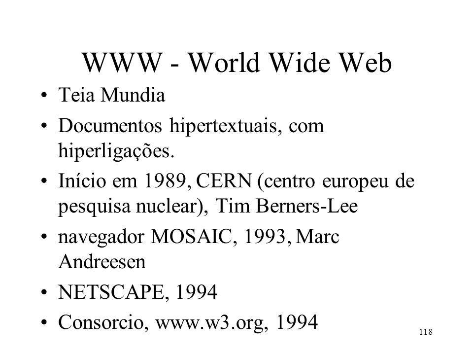 118 WWW - World Wide Web Teia Mundia Documentos hipertextuais, com hiperligações. Início em 1989, CERN (centro europeu de pesquisa nuclear), Tim Berne