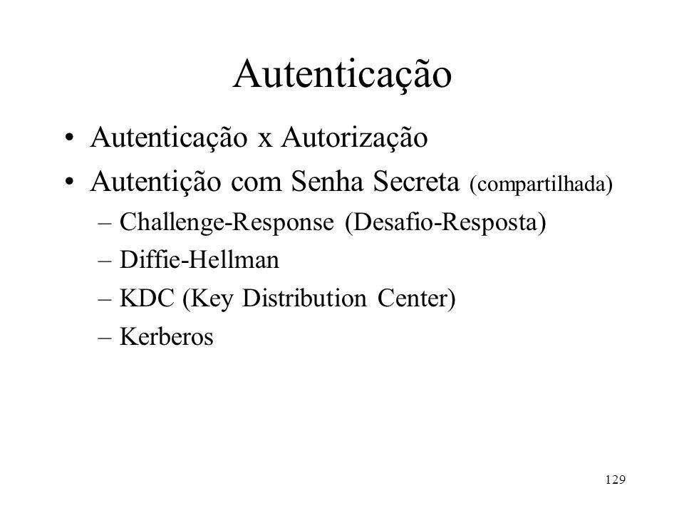 129 Autenticação Autenticação x Autorização Autentição com Senha Secreta (compartilhada) –Challenge-Response (Desafio-Resposta) –Diffie-Hellman –KDC (Key Distribution Center) –Kerberos