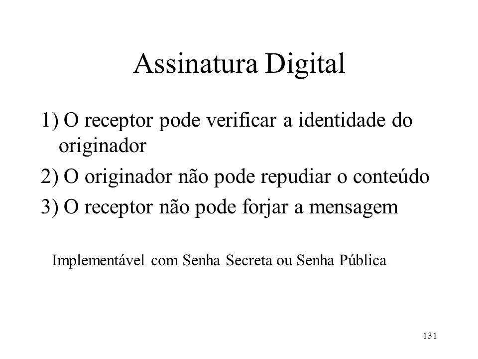 131 Assinatura Digital 1) O receptor pode verificar a identidade do originador 2) O originador não pode repudiar o conteúdo 3) O receptor não pode for