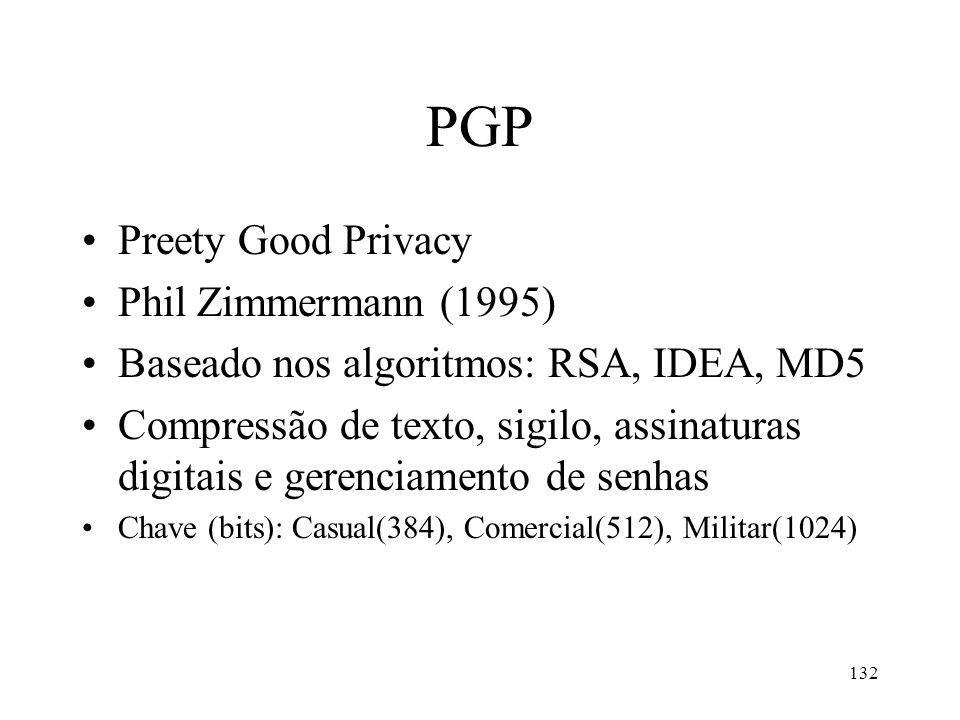 132 PGP Preety Good Privacy Phil Zimmermann (1995) Baseado nos algoritmos: RSA, IDEA, MD5 Compressão de texto, sigilo, assinaturas digitais e gerenciamento de senhas Chave (bits): Casual(384), Comercial(512), Militar(1024)