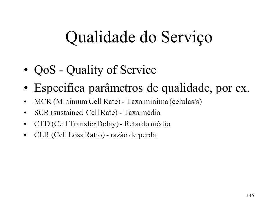 145 Qualidade do Serviço QoS - Quality of Service Especifica parâmetros de qualidade, por ex. MCR (Minimum Cell Rate) - Taxa mínima (celulas/s) SCR (s