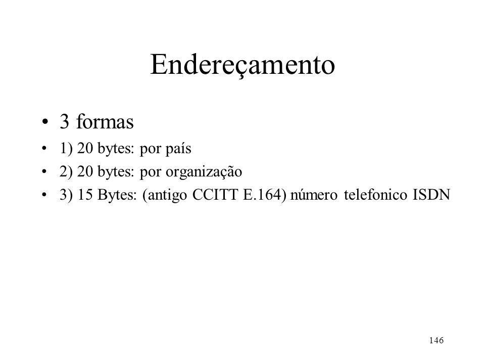 146 Endereçamento 3 formas 1) 20 bytes: por país 2) 20 bytes: por organização 3) 15 Bytes: (antigo CCITT E.164) número telefonico ISDN