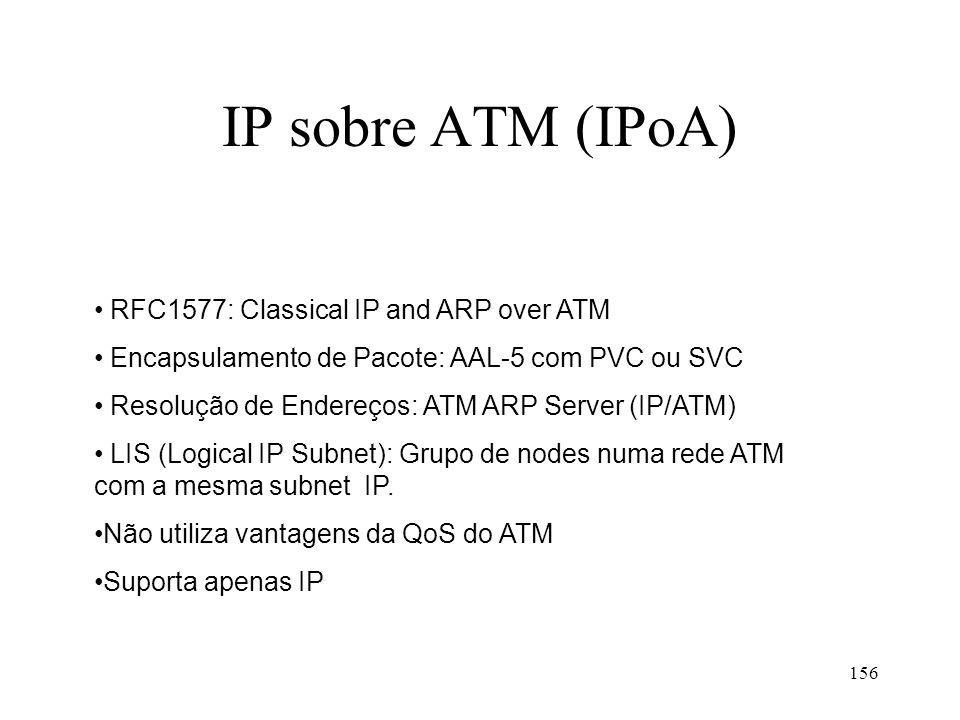 156 IP sobre ATM (IPoA) RFC1577: Classical IP and ARP over ATM Encapsulamento de Pacote: AAL-5 com PVC ou SVC Resolução de Endereços: ATM ARP Server (IP/ATM) LIS (Logical IP Subnet): Grupo de nodes numa rede ATM com a mesma subnet IP.