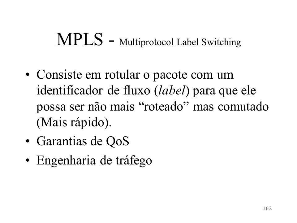 162 MPLS - Multiprotocol Label Switching Consiste em rotular o pacote com um identificador de fluxo (label) para que ele possa ser não mais roteado ma