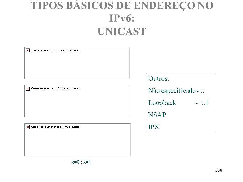 168 TIPOS BÁSICOS DE ENDEREÇO NO IPv6: UNICAST x=0 ; x=1 Outros: Não especificado - :: Loopback - ::1 NSAP IPX