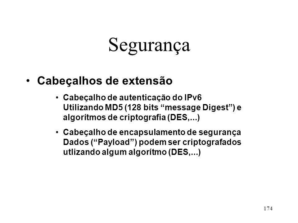 174 Segurança Cabeçalhos de extensão Cabeçalho de autenticação do IPv6 Utilizando MD5 (128 bits message Digest) e algorítmos de criptografia (DES,...) Cabeçalho de encapsulamento de segurança Dados (Payload) podem ser criptografados utlizando algum algorítmo (DES,...)