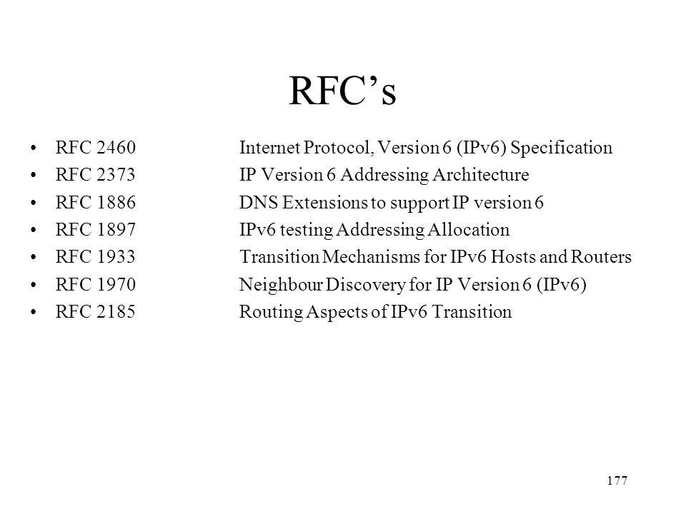 177 RFCs RFC 2460 Internet Protocol, Version 6 (IPv6) Specification RFC 2373 IP Version 6 Addressing Architecture RFC 1886 DNS Extensions to support IP version 6 RFC 1897 IPv6 testing Addressing Allocation RFC 1933 Transition Mechanisms for IPv6 Hosts and Routers RFC 1970 Neighbour Discovery for IP Version 6 (IPv6) RFC 2185 Routing Aspects of IPv6 Transition
