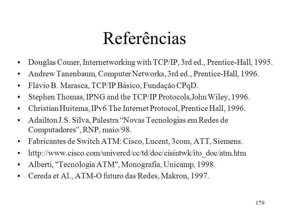179 Referências Douglas Comer, Internetworking with TCP/IP, 3rd ed., Prentice-Hall, 1995.