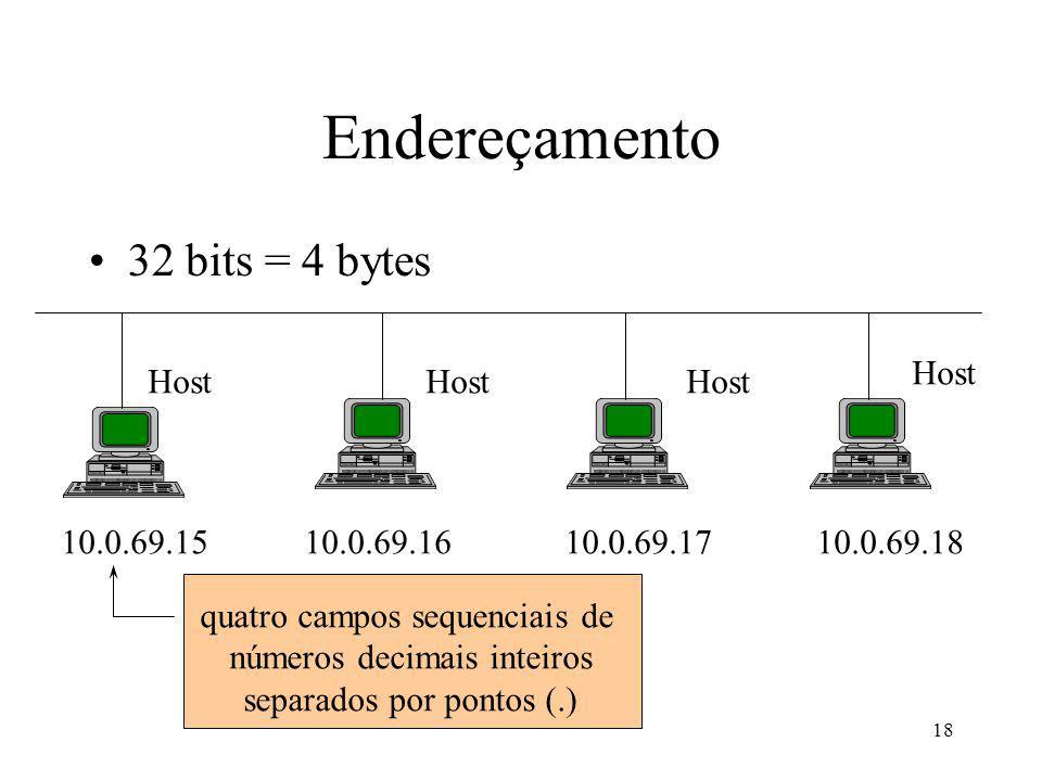 18 Endereçamento 32 bits = 4 bytes 10.0.69.1510.0.69.1810.0.69.1710.0.69.16 Host quatro campos sequenciais de números decimais inteiros separados por pontos (.)