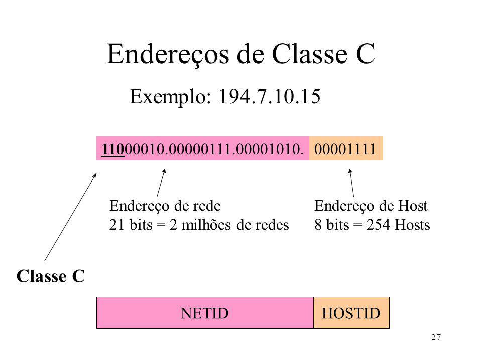 27 Exemplo: 194.7.10.15 Classe C 11000010.00000111.00001010.00001111 Endereço de rede 21 bits = 2 milhões de redes Endereço de Host 8 bits = 254 Hosts NETIDHOSTID Endereços de Classe C