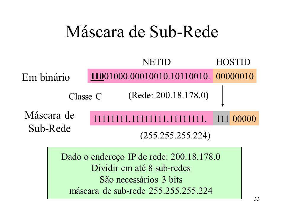 33 Máscara de Sub-Rede Em binário 11001000.00010010.10110010.00000010 (255.255.255.224) 11111111.11111111.11111111.11100000 (Rede: 200.18.178.0) Máscara de Sub-Rede Classe C NETIDHOSTID Dado o endereço IP de rede: 200.18.178.0 Dividir em até 8 sub-redes São necessários 3 bits máscara de sub-rede 255.255.255.224