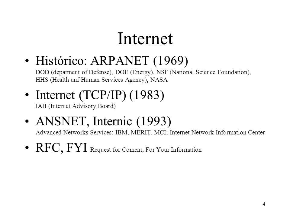 4 Internet Histórico: ARPANET (1969) DOD (depatment of Defense), DOE (Energy), NSF (National Science Foundation), HHS (Health anf Human Services Agenc