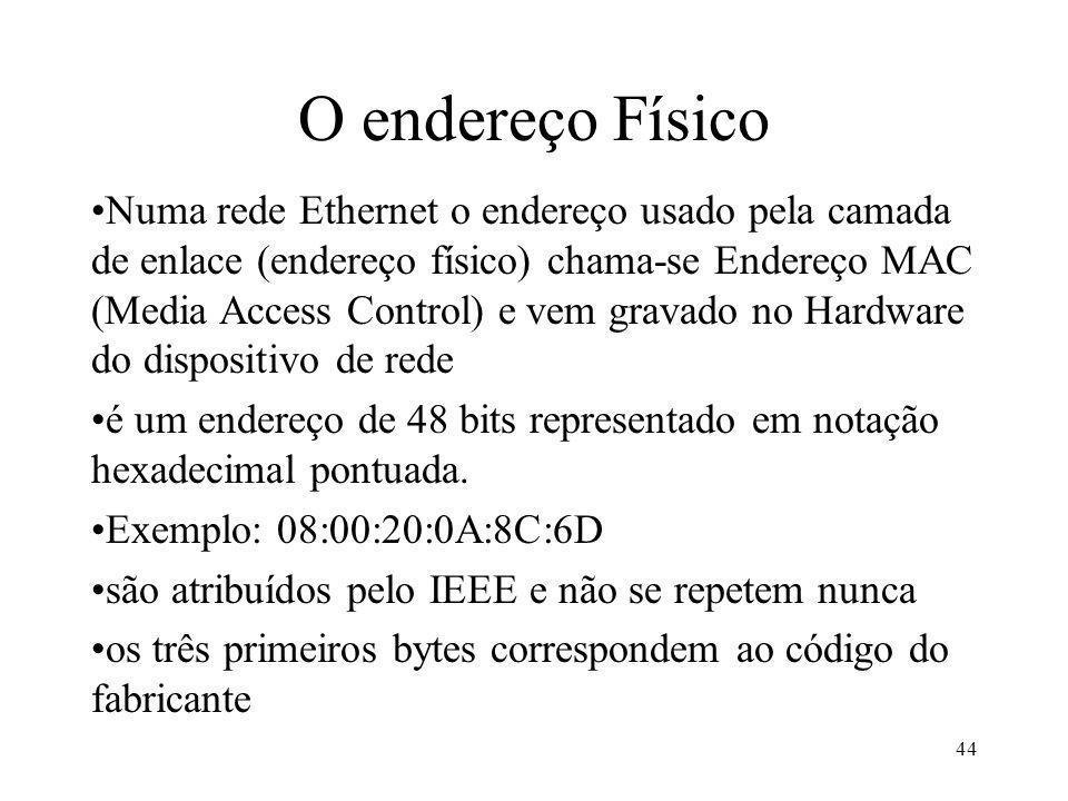 44 O endereço Físico Numa rede Ethernet o endereço usado pela camada de enlace (endereço físico) chama-se Endereço MAC (Media Access Control) e vem gr