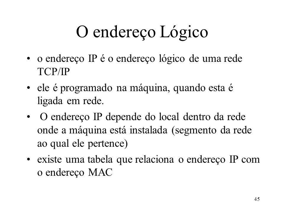 45 O endereço Lógico o endereço IP é o endereço lógico de uma rede TCP/IP ele é programado na máquina, quando esta é ligada em rede.