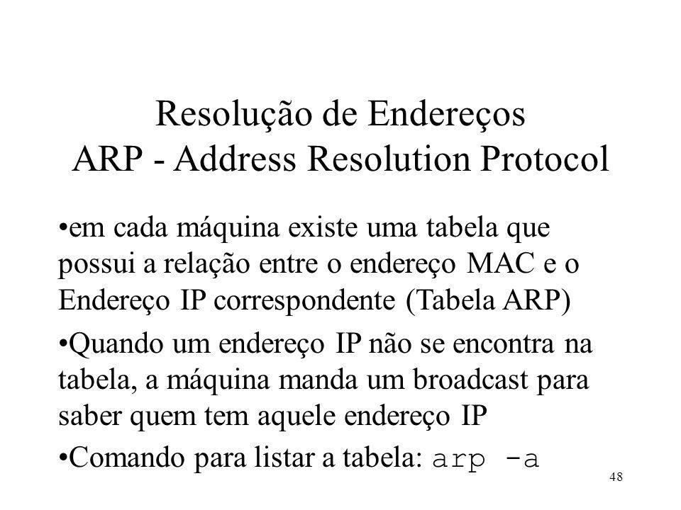 48 Resolução de Endereços ARP - Address Resolution Protocol em cada máquina existe uma tabela que possui a relação entre o endereço MAC e o Endereço IP correspondente (Tabela ARP) Quando um endereço IP não se encontra na tabela, a máquina manda um broadcast para saber quem tem aquele endereço IP Comando para listar a tabela: arp -a