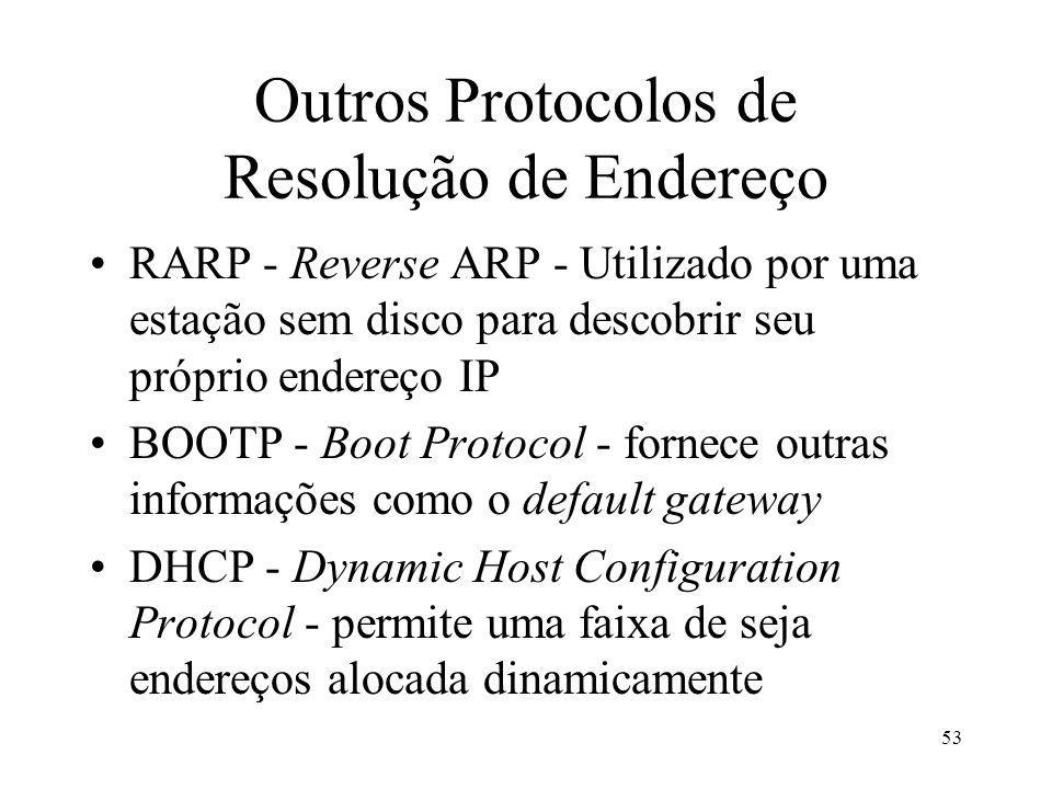 53 Outros Protocolos de Resolução de Endereço RARP - Reverse ARP - Utilizado por uma estação sem disco para descobrir seu próprio endereço IP BOOTP - Boot Protocol - fornece outras informações como o default gateway DHCP - Dynamic Host Configuration Protocol - permite uma faixa de seja endereços alocada dinamicamente