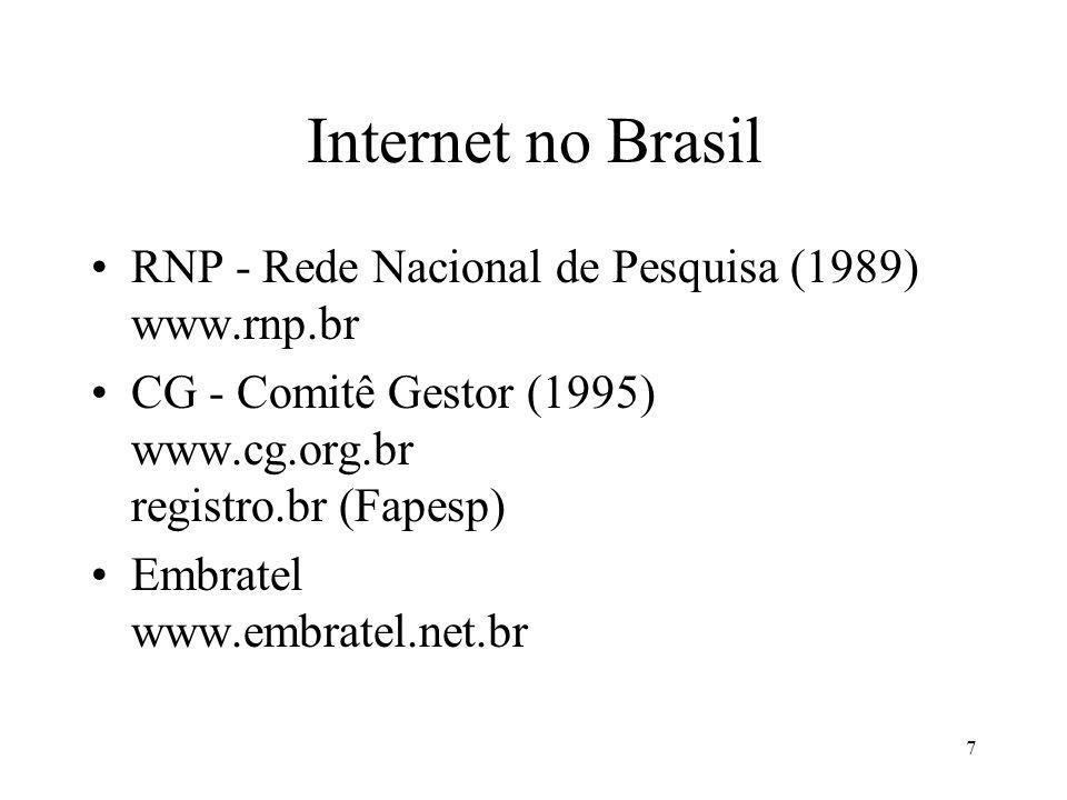 7 Internet no Brasil RNP - Rede Nacional de Pesquisa (1989) www.rnp.br CG - Comitê Gestor (1995) www.cg.org.br registro.br (Fapesp) Embratel www.embratel.net.br