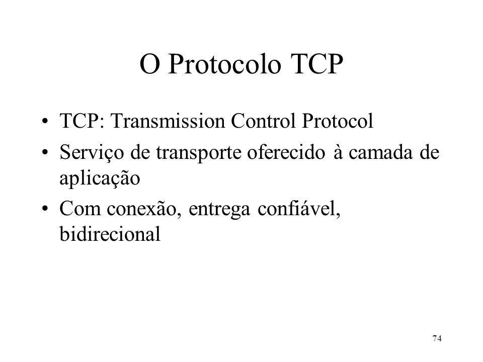 74 O Protocolo TCP TCP: Transmission Control Protocol Serviço de transporte oferecido à camada de aplicação Com conexão, entrega confiável, bidirecional